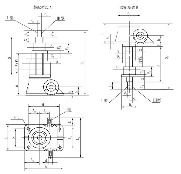 八、升降机的选型说明: 根据丝杆行程和提升负荷查图1~图4,找出所需升降机的型号。再查提升力和提升速度表,校核提升速度是否满足要求。 例:已知提升负荷为F=20 kN,丝杆行程=400ram,提升速度V=0.65m/min,试求所需的升降机。 根据F=20kN,丝杆行程=400mm查图2,选择SWL5升降机。再查提升力和提升速度表核对SWL5升 降升在20kN负荷下只允许O.526m/min的速度,只有重选大型号的升降机。再查提升和提升力速度表得知 SWLl 0在20kN负荷下允许提升速度为1.44m/